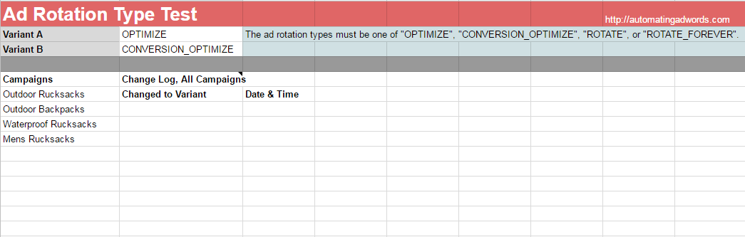 free adwords script ad rotation types from google sheet
